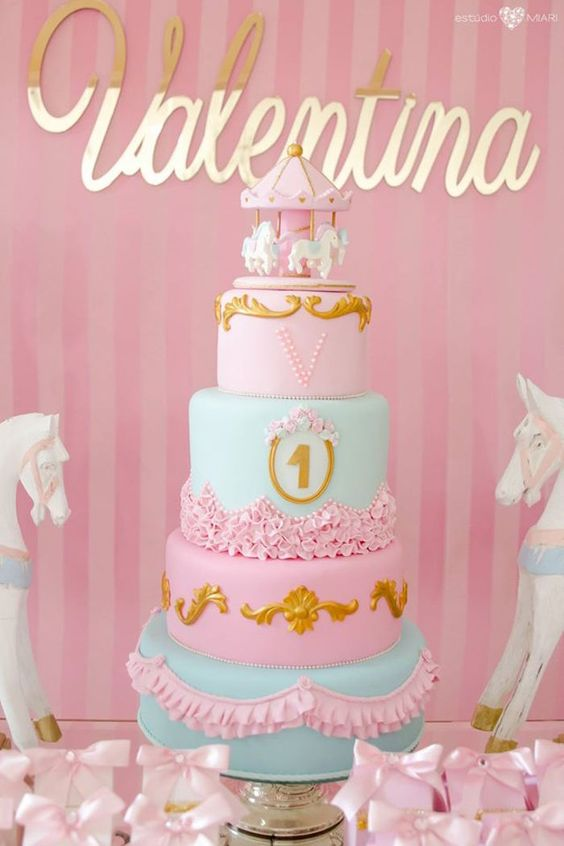 Primer cumpleaños Carrusel dorado y rosa - La Dolce Party