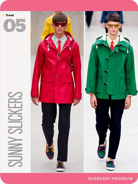 GQ's Spring Trend Repor 2014. This time it's rain slickers from Burberry Prorsum. Diggin' the one on the left. Woulda gone for another color, though.