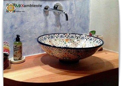 Mexambiente Waschbecken MEX 5 aus Mexiko rund 44 cm - Modell: Aventura