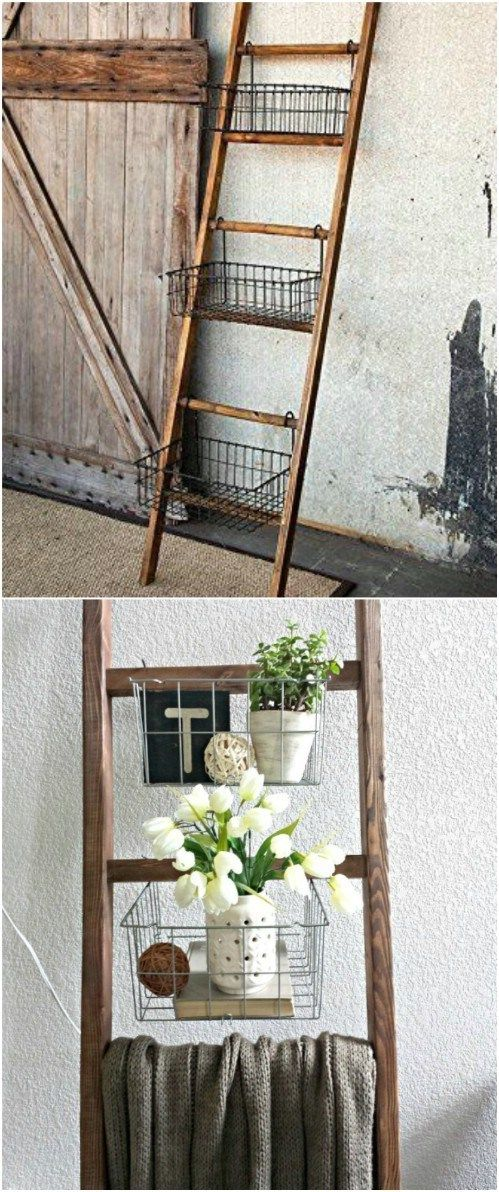 40 Wooden Ladder Repurposing Ideas Digiyan Home Ideas Old Ladder Decor Wooden Ladder Decor Wooden Ladder