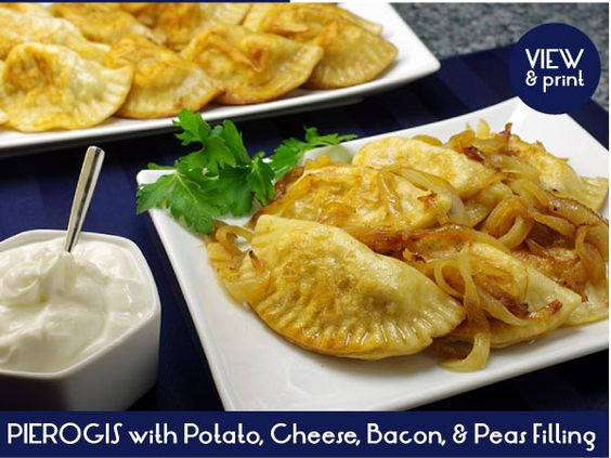 Tender little dough pockets filled with potatoes, cheese, bacon and peas. What's not to love? http://www.kitchenkapers.com/news-archive-2013-polish-cuisine.html#recipeone #KitchenKapers #WeLovePierogi #PolishCuisine #Smacznego!