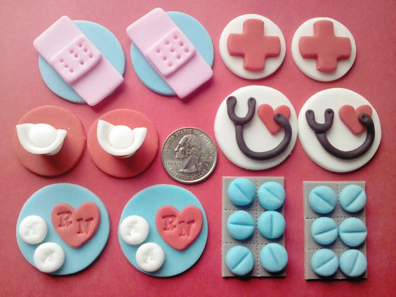 Mini Nurse Edible Fondant Toppers for by ThreeMonkeysCakery