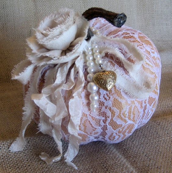 Shabby Chic/Vintage 6 Foam Pumpkin Covered by VintiqueChicAndMore, $15.00