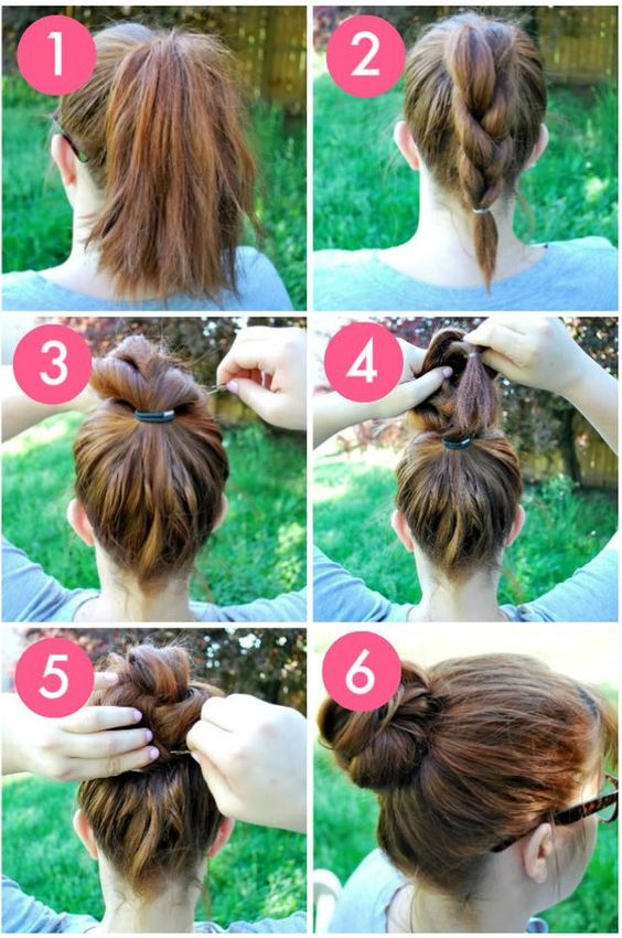 The Braided Bun | Easy and Cute Hairstyles For Long Hair and For Medium Hair by Makeup Tutorials http://makeuptutorials.com/easy-hairstyles-for-work/