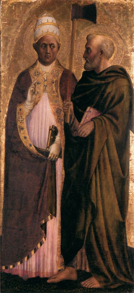Pope Gregory the Great (?) and St. Matthias, 1428-29 | Tempera and oil on poplar transferred to fibreboard, 126 x 59 cm | National Gallery, London | Masolino da Panicale