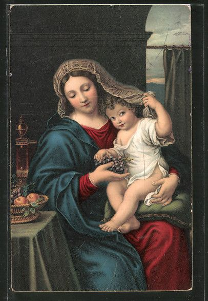 old postcard: Künstler-AK Stengel & Co. Nr. 29911: la vierge a la Grappe