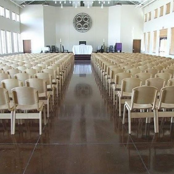 Holsag stacking beech wood side chairs at Redeemer Presbyterian Church in Austin, TX