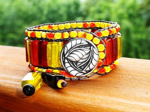 3 Row Leather Cuff - Spicy Glass Bead Bracelet