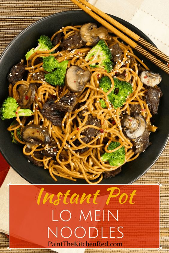Instant Pot Lo Mein Noodles with Beef and Broccoli