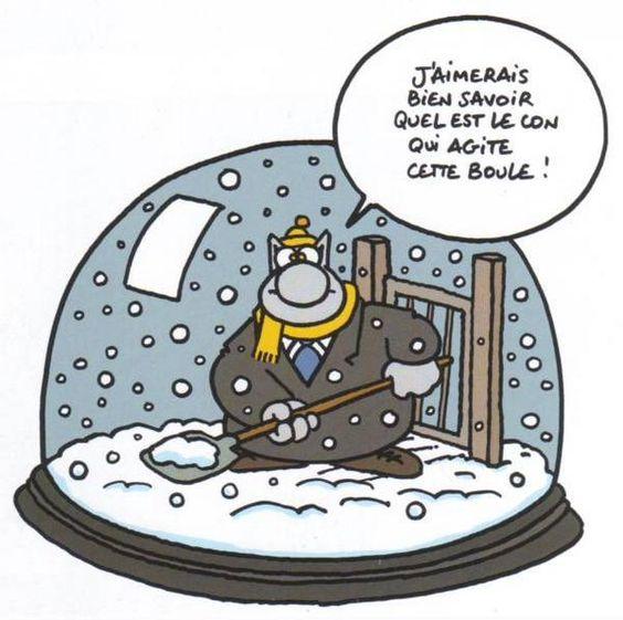 """❄Hiver❄ Dessin de Philippe Geluck (1954) artiste belge surtout connu pour être l'auteur de la série de bande dessinée """"Le Chat""""."""