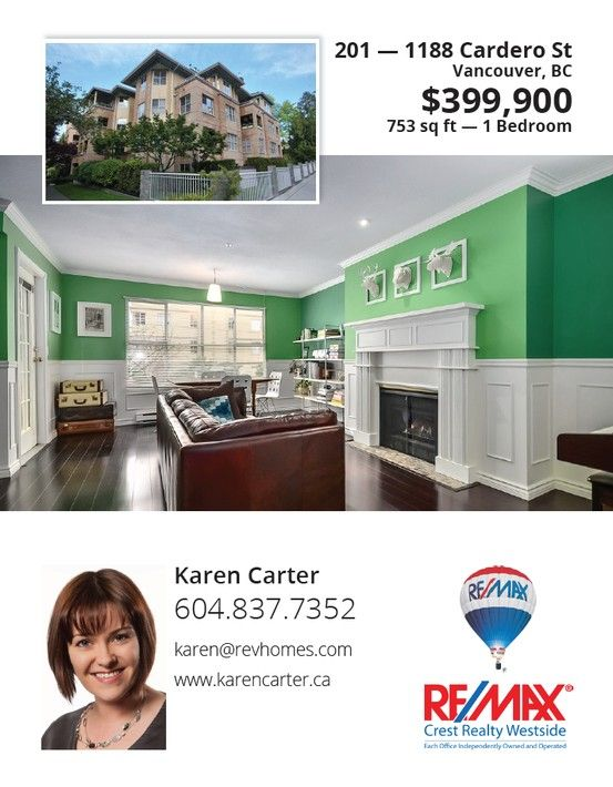Featuresheet design for REALTOR Karen Carter (www.karencarter.ca).   #Vancouver #Real #Estate #Design #Branding #Featuresheets #Buyers #Sellers #Packages #Business #Cards #Mailouts #Brochures #Pamphlets #REALTOR