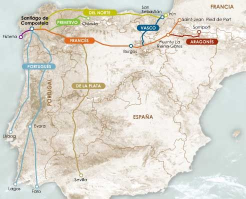 Here's a great map that shows the different routes of the Camino, from the most popular (and increasingly heavily-trafficked, Camino Frances) to some that most people have never heard of.  I'd like to try Los Caminos del Norte!  Beautiful coastal landscapes and a lot of mountains!