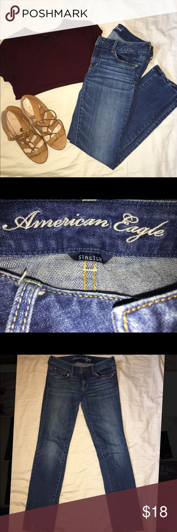 American Eagle Skinny Jeans Very nice and very gently used American Eagle jeans! They are a lighter wash and a size 6 short. Make an offer 😊 American Eagle Outfitters Jeans Skinny