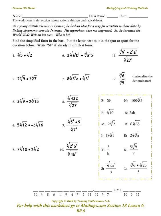 Radical Expressions Simplifying Radical Expressions Simplifying Radicals Solving radical equations worksheet