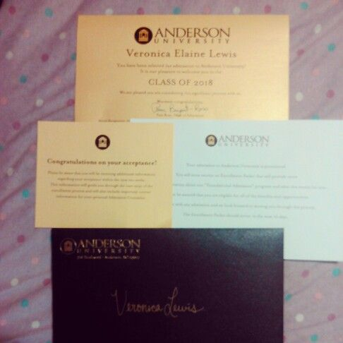 My Acceptance Letter Into CollegeAnderson University Go Trojans