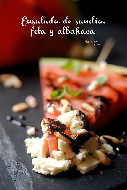 Tía Alia Recetas: Ensalada de sandía, feta y albahaca para #Ponunaensalada