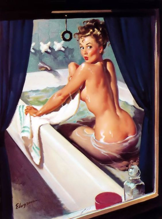 "August Calendar Girl - Gil Elvgren - ""Jeepers, Peepers"" 1948 but published in the August 1952 Ballyhoo Calendar. The calendar included this: ""It's much too hot to draw the shade so if you're passing by just look the other way or else here's soapsuds in your eyes.""  Ballyhoo Calendar was only published from 1952-1954 each with different artist.:"