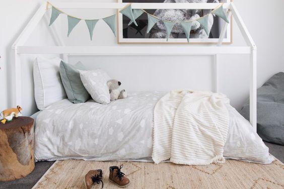 Boys bedroom, kids bedroom, boy's bedroom styling, kid's bedroom styling, Australian kid's bedroom, house bed, bed linen, neutral kid's bedding