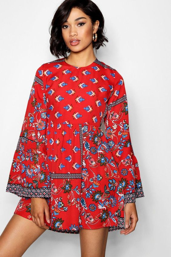 Click here to find out about the Lo Extreme Flute Sleeve Paisley Skater Dress from Boohoo, part of our latest NEW IN collection ready to shop online today!
