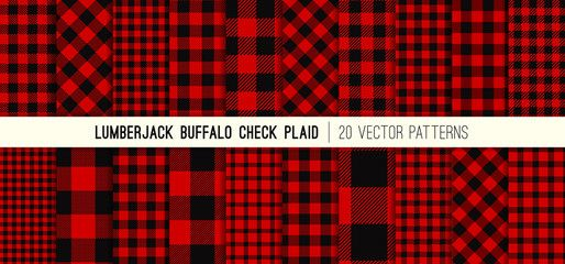Lumberjack Red And Black Buffalo Check Plaid Vector Patterns Rustic Christmas Backgrounds Pack Of 20 Hipster Buffalo Check Plaid Vector Pattern Tile Patterns
