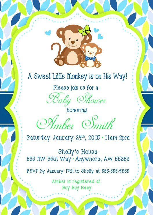 free printable monkey baby shower invitations 5