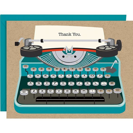 Typewriter A2 Thank You Notes - Paper Source