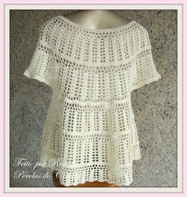 * Pérolas do Crochet: Bata de Croche e flores de croche