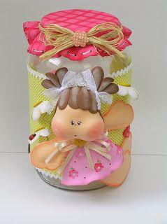 Bote decorado tarros y frascos decorados pinterest for Botes de cocina decorados con goma eva