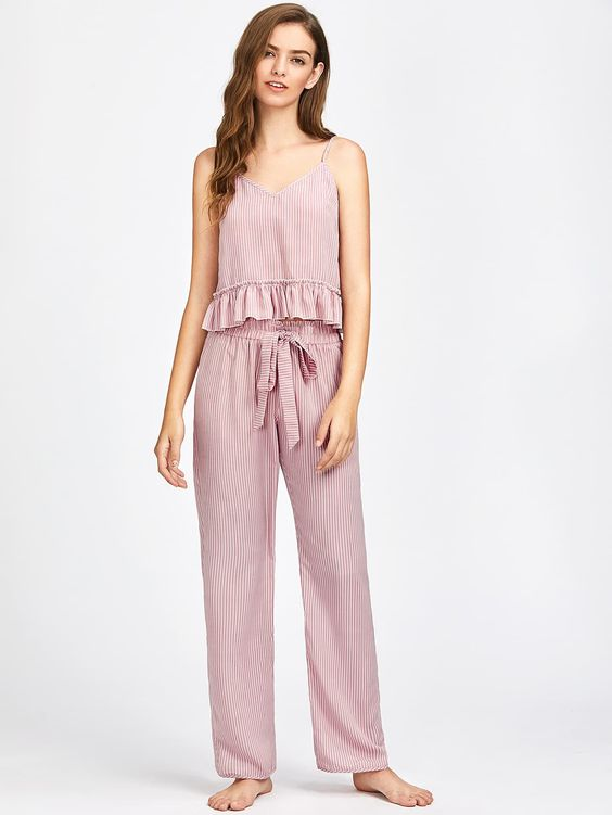 Frill Trim Striped Cami And Belted Pants Pajama SetFor Women-romwe