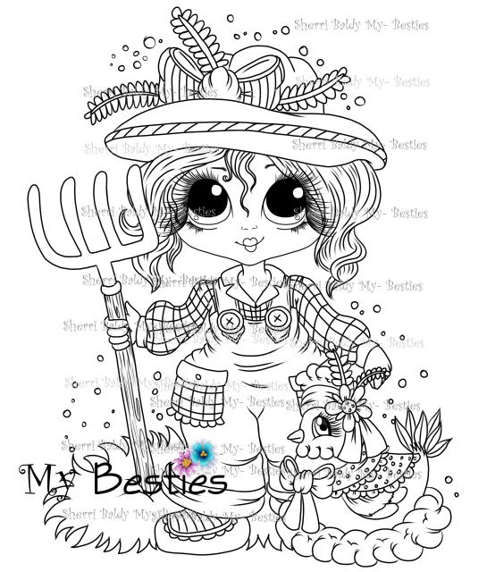 Instant Download Digital Digi Stamps Big Eye Big Head Dolls Digi My Down On The Farm Besties Doll 6 By Sherri Baldy Animal Coloring Pages Digi Stamps Colorful Drawings