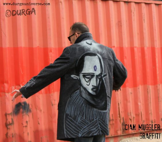 #Upcycling #Graffiti #Art Gray #Alternative #Men #Coat by DurgaUniverse #rare #cool #Goth #steampunk #mens #wool #classic #vintage #reuse #reduce #recycle
