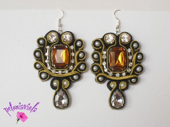 Black and gold soutache earrings with cabochon topaz resin, synthetic diamonds and pearls, embroidered, handmade.