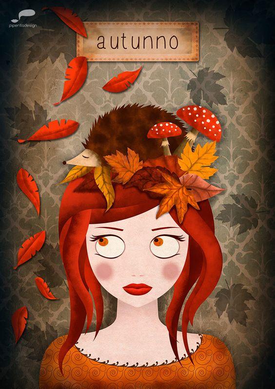#autunno #autumn #leaves #hedgehog #riccio #illustration