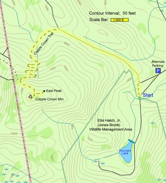 Trail map of hike route to Kidder Mtn and Temple Mtn via the
