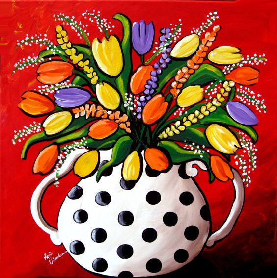 whimsical art | Tulips and Spring Flowers Whimsical Colorful Folk Art Giclee Print