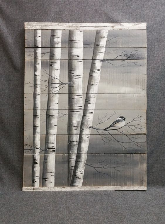 Gray pallet art white birch painting large distressed for White painted pallets