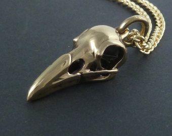 Cuervo cráneo collar pájaro cráneo joyería Cuervo por RebelOcean