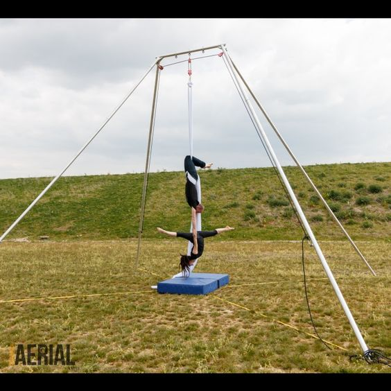doubles silks on Firetoys Free standing outdoor aerial rig