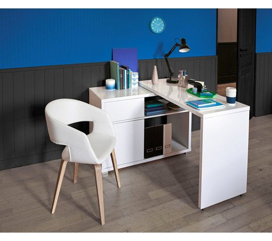 Bureau d 39 angle space blanc brillant bureaux angles et for Bureau d angle blanc