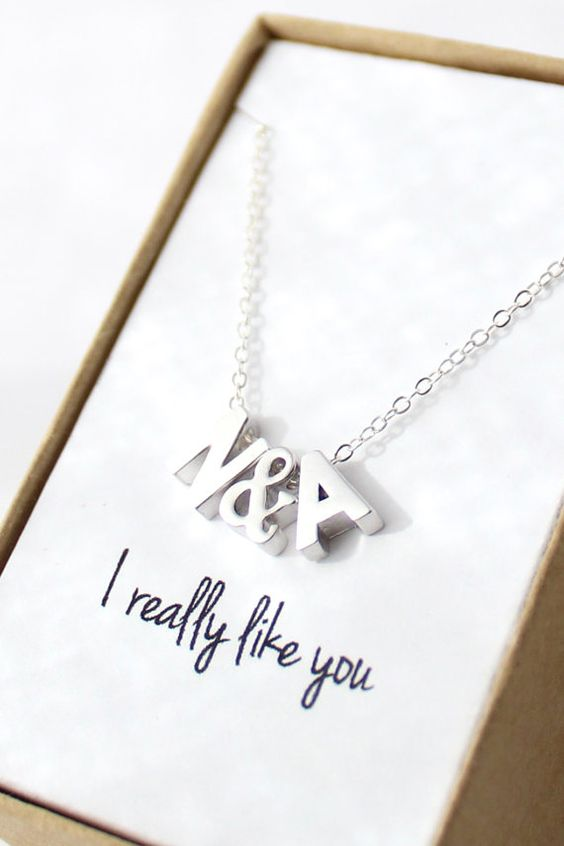Tiny Initial Necklace  Silver Initial Necklace  by powderandjade