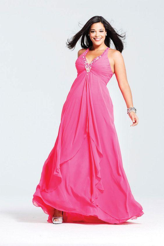 Fuchsia Chiffon Floor-Length V-Neck Plus Size Evening Dress