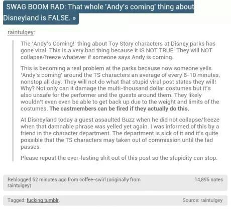 """Toy Story characters at Disney will NOT FREEZE just because you yell """"Andy's coming"""""""