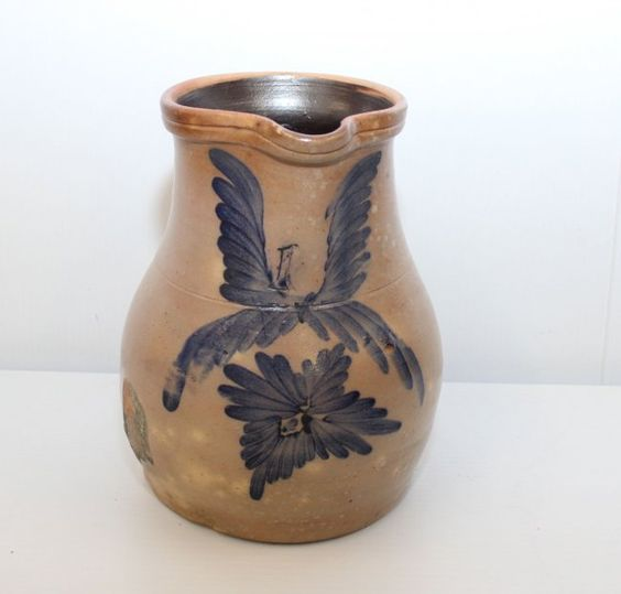 Sold $650  STONEWARE MILK PITCHER - 19TH CENTURY ATTRIBUTED TO EASTON POTTERY - FEATHER DECORATION