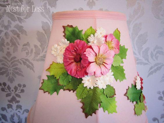 anthropologie knock off embellished lamp shade flower. Black Bedroom Furniture Sets. Home Design Ideas