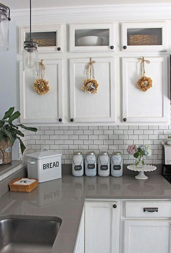 Simple Summer Kitchen Decorating Ideas White Kitchens White Cabinets With Gray Cabinets De In 2020 White Kitchen Decor White Kitchen Design Gray And White Kitchen