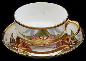 Art Nouveau B & H Limoges Tea Cup & Saucer ca.1895