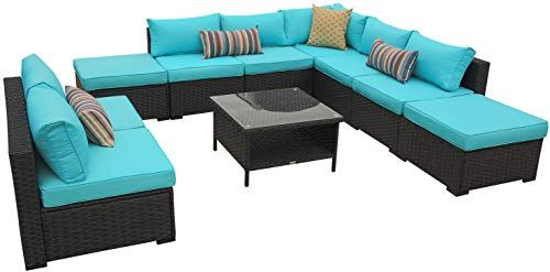 Buy Rattaner 10 Piece Patio Sectional Furniture Set Outdoor Pe Wicker Rattan Conversation Sofa Turquopise Cushion Online Newtopgoods Sectional Patio Furniture Outdoor Wicker Chaise Lounge Sectional Furniture