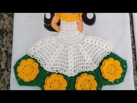 Vestido De Croche Para Pano De Prato Parte 2 Croche Panodeprato Saia Youtube Panos De Cozinha De Croche Vestido De Croche Abajur De Croche