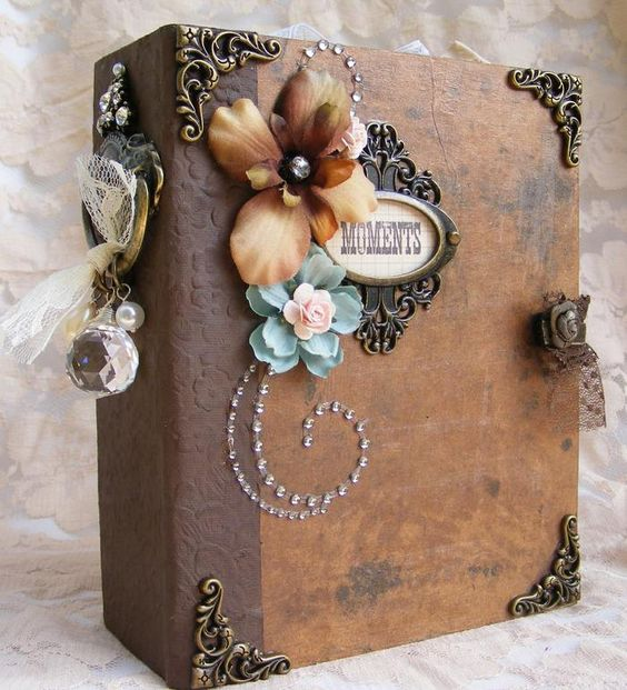 details about elite4u toni vintage style premade scrapbook album prima flower paper piecing. Black Bedroom Furniture Sets. Home Design Ideas
