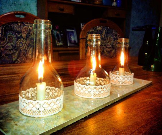 Centro de mesa reciclar botellas de vidrio diy - Botellas con velas ...